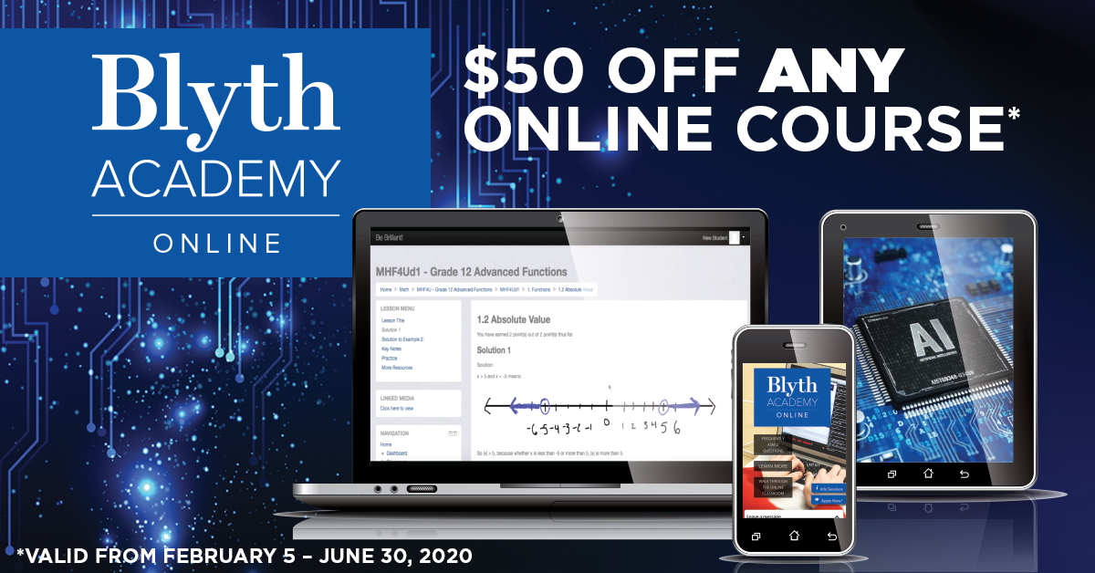 $50 off any Blyth Academy Online course when registering between February 5 and June 30, 2020. Contact admissions@blytheducation.com and quote the Canadian Online Homeschool Conference.