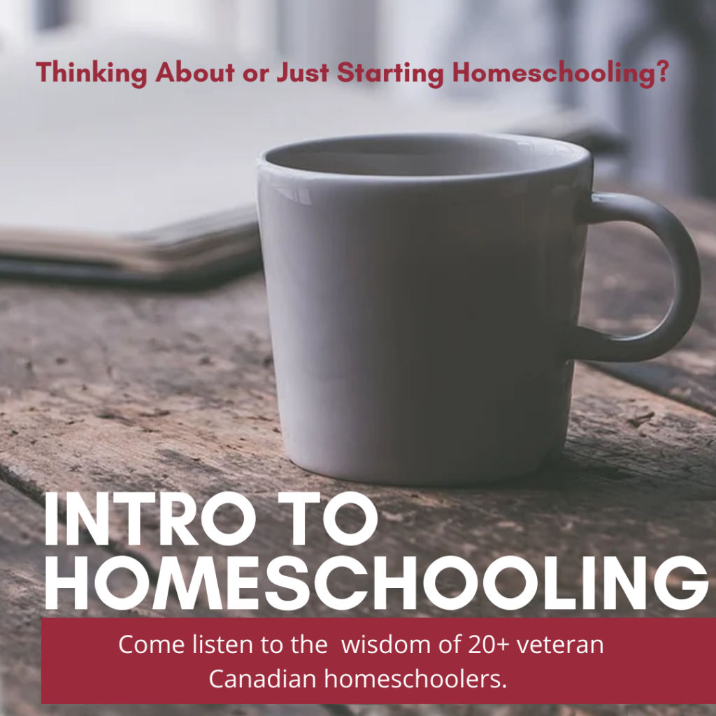 A white mug on a wooden table with the words Intro to Homeschooling overlayed